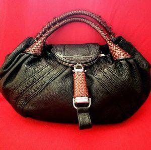 Fendi Spy Zucca Pattern Hobo Leather Handbag